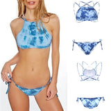 New Women Print Bikini Set Sexy Tie Dye Swimwear Crop Top 3 Colors High Neck Bikini - Hespirides Gifts - 4