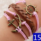 Vintage Bird Owls Anchor Bracelets Wrap Leather Bracelet Charm bracelets - Hespirides Gifts - 11