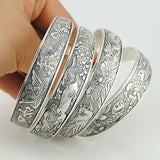Factory Wholesale Tibetan Jewelry Vintage Silver Bangles Antique Tibetan Silver Cuff Bracelets - Hespirides Gifts - 5