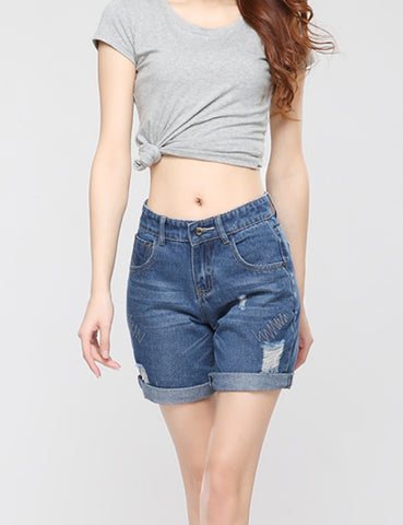 Blue Torn Jeans Shorts Vintage Shorts Female Destroyed Women Jeans Feminino New Summer Shorts For Women Plus Size - Hespirides Gifts - 1