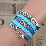 New Mix Infinity Love Leather Love Owl Leaf Charm Handmade Bracelet Bangles - Hespirides Gifts - 7