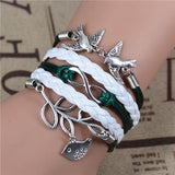 New Mix Infinity Love Leather Love Owl Leaf Charm Handmade Bracelet Bangles - Hespirides Gifts - 16