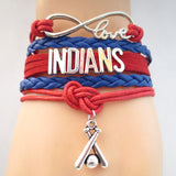 Infinity Love INDIANS baseball Sports Team Bracelet Customize Sports friendship Bracelets B09337 - Hespirides Gifts - 1