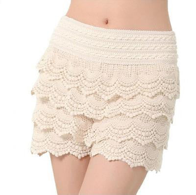 New Summer Woman Shorts Sweet Style Lace shorts Crochet Hollow Elastic Waist - Hespirides Gifts