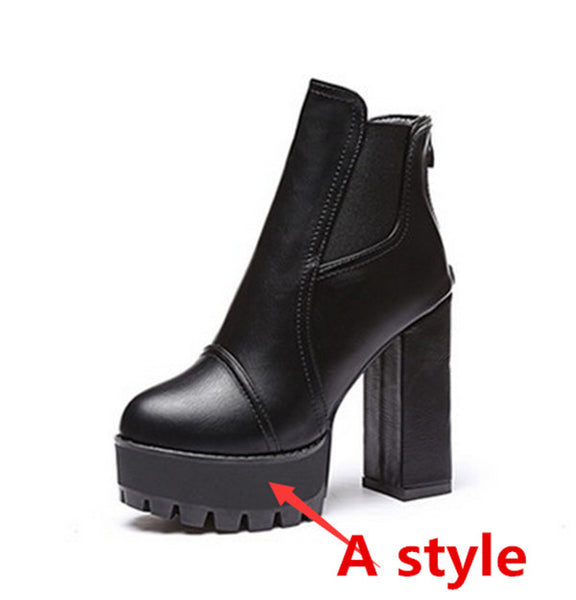 Women new ankle boots Short boots thick with High heels platform leather shoes ladies leather boots12cm heel - Hespirides Gifts - 8