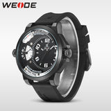 WEIDE Men Watches New Luxury Brand Clock Male 30m Waterproof Silcone Band Dual Time Zones Casual Sports Men Quartz Wrist Watch