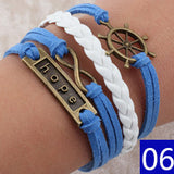 Vintage Bird Owls Anchor Bracelets Wrap Leather Bracelet Charm bracelets - Hespirides Gifts - 9