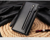 Hot New Brand Design zipper Fashion black genuine leather men wallets long casual brown - Hespirides Gifts - 10