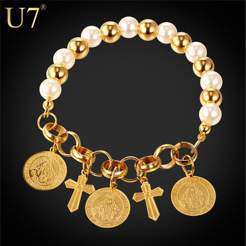 Two Tone Gold Pearl Bracelet For Women Gift Cross Jesus Piece Bracelet Christian - Hespirides Gifts