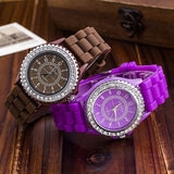 Silicone GENEVA Women Rhinestone Quartz Fashion Wrist Watch Watches - Hespirides Gifts - 15