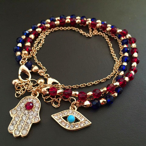 glod evil eye charm bracelet red and blue beads with hamsa hand turkish kabbalah evil eye bracelet hand of fatima bracelet cheap - Hespirides Gifts - 1