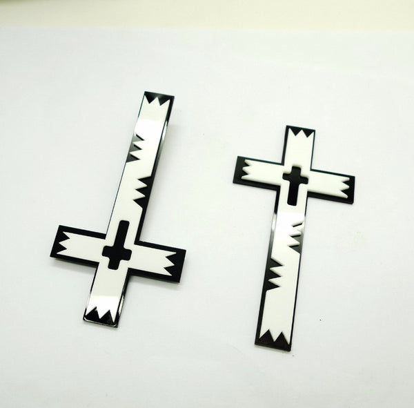 Fashion Personality Black White Cross Stud Earrings Punk Women Night Club Jewelry Accessories - Hespirides Gifts