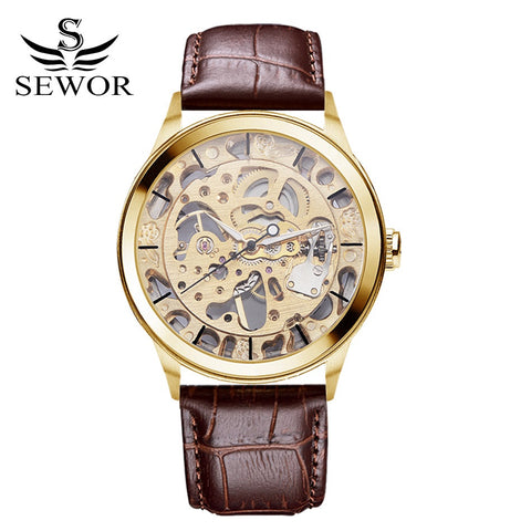 Sewor Brand Watches Men Steampunk Skeleton Mechanical Watches PU Leather Wristwatches Men Dress Watch Classics Gold Watch XR1002 - Hespirides Gifts - 1