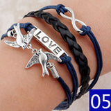 Vintage Bird Owls Anchor Bracelets Wrap Leather Bracelet Charm bracelets - Hespirides Gifts - 4