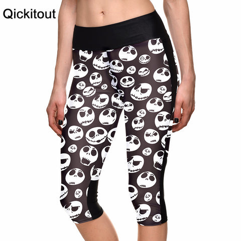 S-XL Fashion New Women's 7 point pants women leggings Smiley face Skull digital print women high waist Side pocket phone pants - Hespirides Gifts - 1