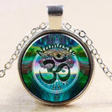 Newest Style Casual Yoga OM Pendant Necklace Fashion Round Ethnic Silver Plated - Hespirides Gifts - 11