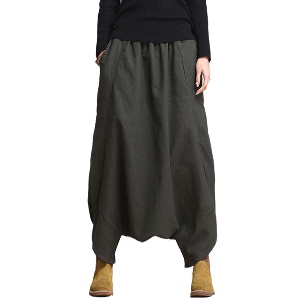 SERENELY Linen Casual Pants Personality Loose Harem Pants Plus Size Solid Elastic Waist Women's Pants Trousers for Women - Hespirides Gifts - 4