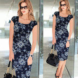 Vfemage Women Belted Elegant Floral Print Check Cap Sleeve Tunic Work Business Casual Party Pencil Sheath Wiggle Dress 288 - Hespirides Gifts - 7