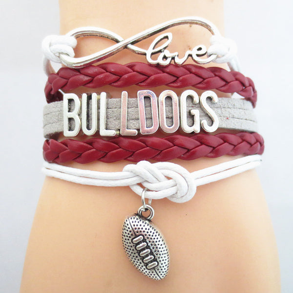 Infinity Love Bulldogs football Team Bracelet white red Customized Wristband friendship Bracelets B09112 - Hespirides Gifts - 1