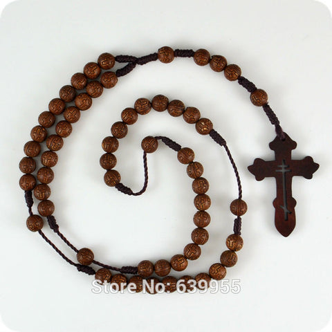Dark Brown Rosary Beads Orthodox Cross Wood Pendant Necklace Fashion Religious jewelry - Hespirides Gifts - 1