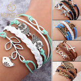 Vintage Bird Owls Anchor Bracelets Wrap Leather Bracelet Charm bracelets - Hespirides Gifts - 1