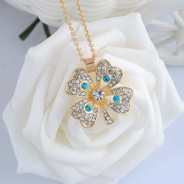 Classic Lucky Clover Pendant Necklace For Women/Girls Fashion Crystal Full Rhinestone White/18K Gold Plated Necklaces Jewelry - Hespirides Gifts - 4