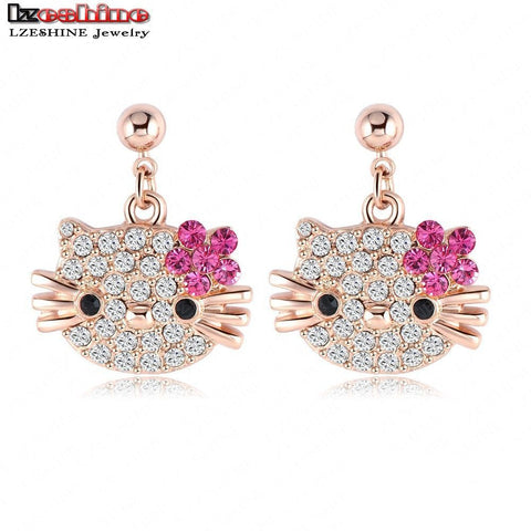 Lovely Cat Flower Stud Earring for Girls Women 18K Rose Gold Plate Austrian Crystal Kitten Earings With SWA Elements Brinco - The Fire Pits Store  - 1