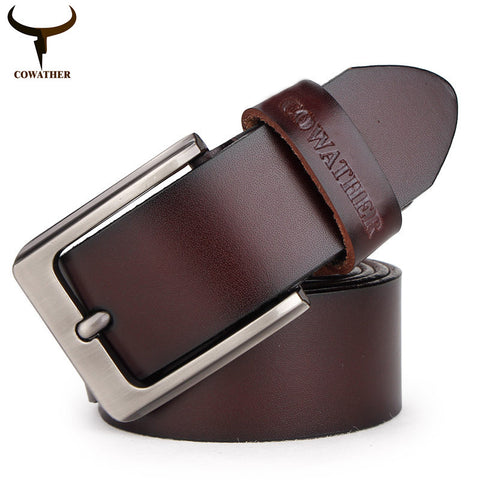 mens cow genuine leather luxury strap male belts for men 3 colors cintos masculinos plate buckle - Hespirides Gifts - 1