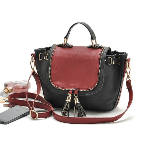 british style famous brand ladies leather black/red handbags retro vintage tassel messenger bags women's shoulder satchels - Hespirides Gifts - 1