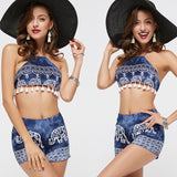 HEEGRAND Crop Top 2 Piece Set Women Cropped Sexy Backless Spaghetti Strap Tassel Tops Patchwork Shorts WAT963 - Hespirides Gifts - 5