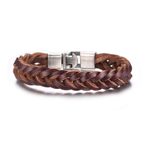 Vintage Leather Woven Bracelet for Men In Brown with Alloy Clasps Cuff Bangles Pulseiras - Hespirides Gifts - 1
