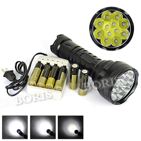 Flashlight 5 Mode 12 *XML L2 LED 24000 Lumens High Power Tactical Torch Hunting - Hespirides Gifts - 2