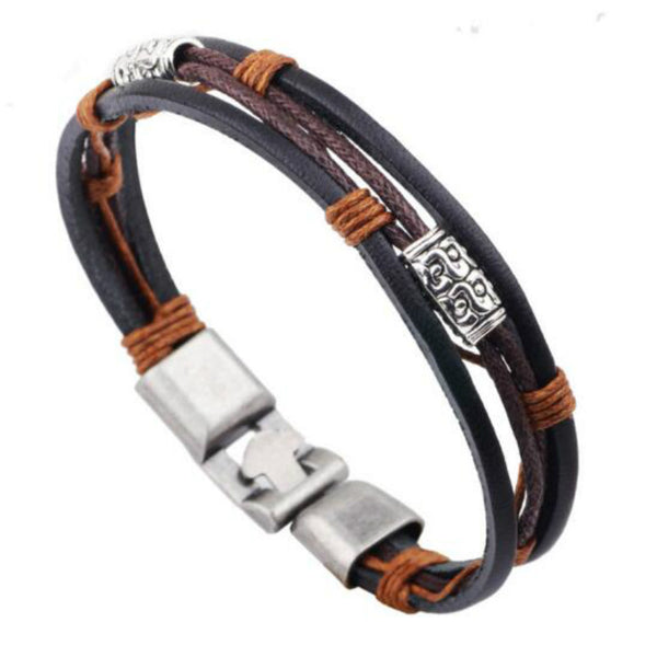 Multilayer Retro Punk Charm Brown Hand-woven Braided Rope Chain Wristbands Bracelet Casual Style Fashion Man Jewelry - Hespirides Gifts - 1