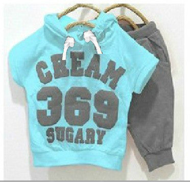 New summer girls boys clothing sets cream 369 set baby clothes short-sleeve T-shirt pant kids sport suit children clothing - Hespirides Gifts - 1