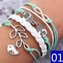 Vintage Bird Owls Anchor Bracelets Wrap Leather Bracelet Charm bracelets - Hespirides Gifts - 16