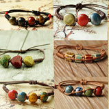 Fashion Ethnic Style High Quality Original Ceramic Bronze Adjustable Handmade Porcelain Beads Rope Bracelets For Women he005 - Hespirides Gifts - 1