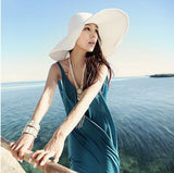 Summer Women's Foldable Wide Large Brim Beach Sun Hat Straw Beach Cap For Ladies Elegant Hats Girls Vacation Tour Hat - Hespirides Gifts - 3