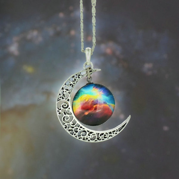 Silver Color Jewelry Fashion Moon Statement Necklace Glass Galaxy Collares Necklace - Hespirides Gifts - 3