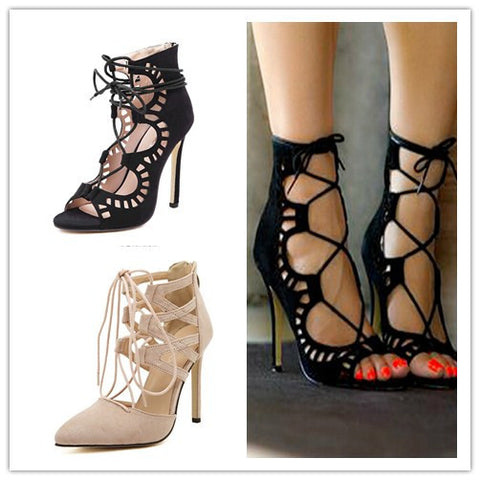 Sexy Women Pumps Pointed Toe High Heels Shoes Woman Lace Up Cutouts Fashion Women Wedding Shoes Sapato Feminino - Hespirides Gifts - 1