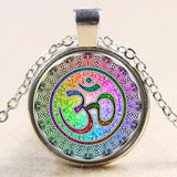 Newest Style Casual Yoga OM Pendant Necklace Fashion Round Ethnic Silver Plated - Hespirides Gifts - 8