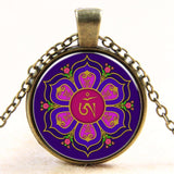Newest Style Casual Yoga OM Pendant Necklace Fashion Round Ethnic Silver Plated - Hespirides Gifts - 6