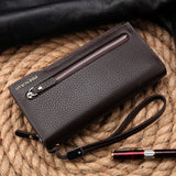 Hot New Brand Design zipper Fashion black genuine leather men wallets long casual brown - Hespirides Gifts - 8