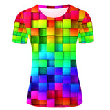 Funny Unique T-shirts Women Fashion 3D Rainbow Pattern Custom T Shirt Graphic - Hespirides Gifts - 1