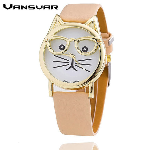Buy Vansvar Hot Sale Glasses Cat Watch Fashion Leather ...