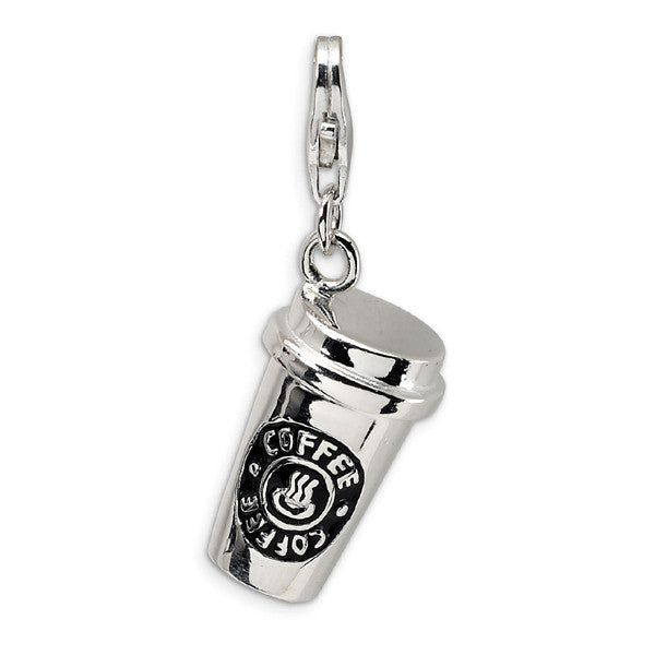 Coffee Cup Keychain Accessory High Polished Silver Plated Pendant - Hespirides Gifts