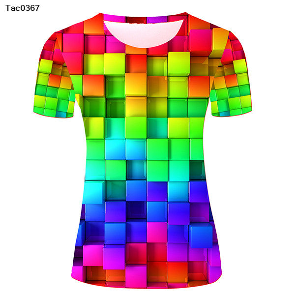 Funny Unique T-shirts Women Fashion 3D Rainbow Pattern Custom T Shirt Graphic - Hespirides Gifts - 2