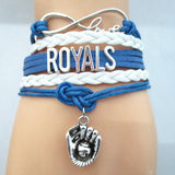 Infinity Love ROYALS baseball Sports Team Bracelet blue white Customize Sport friendship Bracelets B09333 - Hespirides Gifts - 2