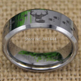 USA UK Canada Russia Brazil Hot Sales 8MM Hunting Buck&Deer Tracks Silver Beveled Lord Men's Tungsten Wedding Ring - Hespirides Gifts - 7
