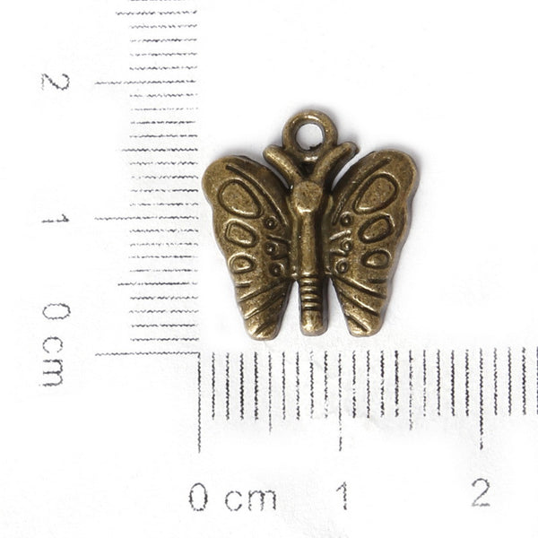 Mixed Bronze Silver Plated Butterfly Charm Pendants Bracelet Necklace - Hespirides Gifts - 3
