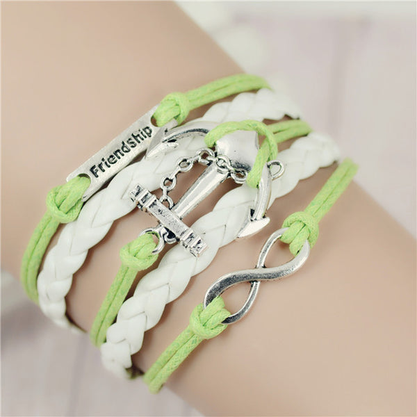 New Mix Infinity Love Leather Love Owl Leaf Charm Handmade Bracelet Bangles - Hespirides Gifts - 8